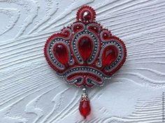 Купить Брошь Корона - ярко-красный, брошь ручной работы, чешский бисер, сутаж