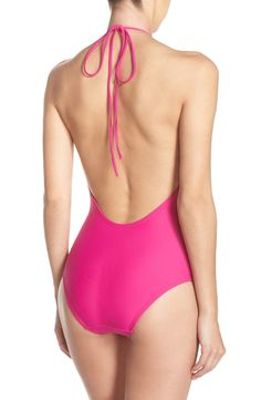 Love the low scooped back of this wow-worthy pink swimsuit!