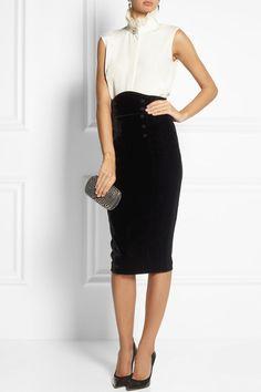 L'Wren Scott velvet and stretch twill pencil skirt