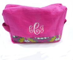 monogrammed makeup bag hot pink and gray by Baileywicks on Etsy, $16.00
