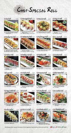 Fusion Sushi Japanese Restaurants - Manhattan Beach and Long Beach in California Sushi Roll Menu, Sushi Roll Recipes, Japanese Menu, Japanese Sushi, Japanese Desserts, Diy Sushi, Sushi Party, Ramen Comida, Mochi