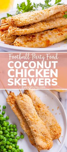 Coconut flakes and breadcrumbs turn basic chicken strips into crispy, flavorful fun on a stick in this baked coconut chicken skewers recipe. Such an easy Super Bowl party food! #appetizer #appetizerrecipes #recipe #dinnertonight #dinnerrecipes #seahawks #footballfood #footballparty #tailgating #superbowlfood #superbowlsnacks #gameday #gamedayfood #gamedaysnacks #footballpartyfood #chicken #chickenstrips #coconutrecipes #chickenrecipes #skewers #skewerrecipes