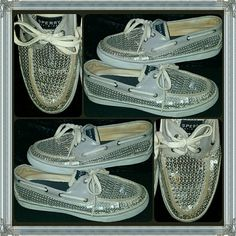 SPERRY silver sequin BLING top sider BOAT SHOES A very AWESOME pair of SPERRYS to add to your collection!...this cool GLAM-TASTIC  pair is all covered with silver sequins...they are a LADIES SIZE 9-M with NO SEQUINS missing that I could find..there is just minor and regular wear to the soles and insole since pre-owned but NOTHING AT ALL MAJOR with just TONS of WEAR & LIFE LEFT! Sperry Top-Sider Shoes