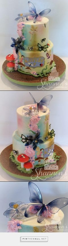 """Fairy Garden theme 2-tier buttercream cake with airbrushing, fondant accents, and """"gelatin art"""" flowers and fairy wings. Bottom tier is chocolate cake with chocolate buttercream filling; top tier is confetti cake with chocolate buttercream filling. Frosted in vanilla buttercream. Accents include toadstools, insects (bees, dragonflies, ladybugs), butterflies, flowers, and fairies. Keywords: birthday, girl. - created via https://pinthemall.net"""