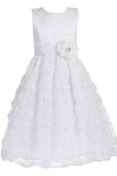 Chiffon Flowers on White Satin & Tulle First Holy Communion Dress ( Girl's 6 to 12 - Plus Size 8X to 12X )