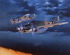 "SAVOIA-MARCHETTI SM79-1 ""SPARVIERO"" BOMBER Illustrated by Shigeo Koike , イラスト:小池繁夫氏"