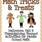 This file includes over 20 activities and worksheets that would be perfect to incorporate into the middle school math classroom during the fall sea...