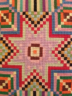 vintage needlepoint / quilt work reversable by DriftwoodStorm