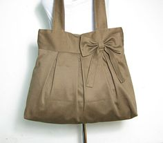 Brown cotton fabric tote bag / shoulder bag / hand by Markfabric