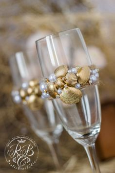 Champagne Glasses Beach Wedding Flutes Gold Wedding Glasses