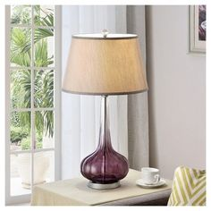 Dazzling sparkles bring the fluted mulberry base of this elegant contemporary glass table lamp beautifully to life. Elongated onion bloom details accent the base in this stunning deep Mulberry Table Lamp. The fluted art glass construction creates an Linen Lamp Shades, Light Bulb Wattage, Contemporary Table Lamps, Modern Lamps, Lamp Shade Store, Unique Lamps, Modern Lighting, Lighting Ideas, Lamp Light
