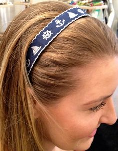 $20.00 #Anchor Away high quality Ribbon #Headband #suebdo #capecod