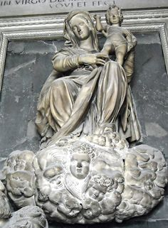 """Virgin Mary and Child with Angels  (1588, detail from the """"Sepulchre of Alonzo Sanchez de Luna"""" by Michelangelo Naccherino (Florence 1550-Naples 1622), Church of the Annunciation, Naples)"""
