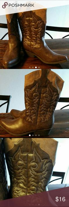 Cowgirl Boots NEW  w/tags Brand new with tags 2 tone brown Shoes Heeled Boots