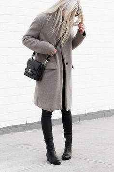 blonde in a grey coat, mini Proenza Schouler bag, skinny black jeans & boots #style #fashion