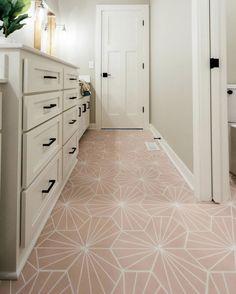 Riad Tile - Cement Tile - Nola Pink Nola Pink cement tile on the bathroom floor from Bedroom Floor Tiles, Cement Tiles Bathroom, Bathroom Tile Designs, Bathroom Colors, Tile Floor, Living Room Flooring, Bedroom Flooring, Villas, Modern White Bathroom