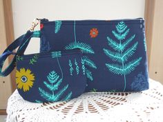 Mesa  Leaves in Navy Blue Smart phone Case Gadget Pouch Clutch Wristlet Zipper  Bag Set by Antiquebasketlady on Etsy