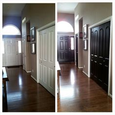 Black interior doors - may do this when we lighten the wall colors downstairs!
