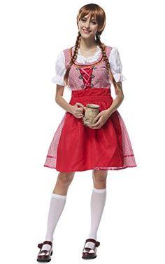 #BINCHENG #Damen #Kariert #Dirndl #kurz #3 #tlg #Oktoberfest mit #Bluse und…