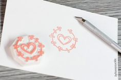 heart stamp wreath stamp love rubber stamp heart by byhoneysuckle, $10.00