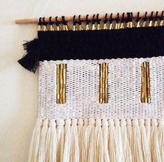 wall hanging weaving / dark moon tapestry / hand por HAZELANDHUNTER
