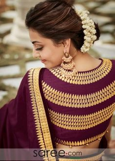 Buy saree and blouses online in india at cheapest price. Shop designer wedding saree, cotton saree, chiffon saree, bollywood saree with all new blouse designs. Blouse Back Neck Designs, Sari Blouse Designs, Fancy Blouse Designs, Blouse Patterns, Neckline Designs, Dress Designs, Jute, Blouse Designs Catalogue, Stylish Blouse Design