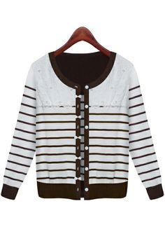 Lace Trim Striped Cardigan