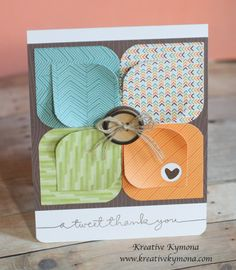 A Tweet Thank You was created with Lawn Fawn's Into the Woods pattern paper, Stampin Up! linen thread and retired natural buttons and Simon Says Stamp Giving Thanks