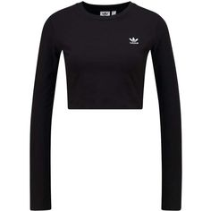 adidas Originals CROP T-shirt långärmad ($45) ❤ liked on Polyvore featuring tops, t-shirts, white tee, cut-out crop tops, white crop t shirt, crop tee and adidas originals t shirt