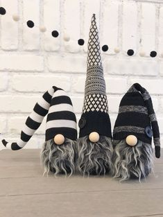 Adorable monochrome home gnomes are a great addition to your decor. Perfect for farmhouse style decor, coffee bars, fireplace mantels, and tiered tray decorating.