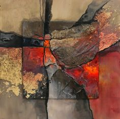 New London mixed media geologic abstract Carol Nelson Fine Art, painting by artist Carol Nelson