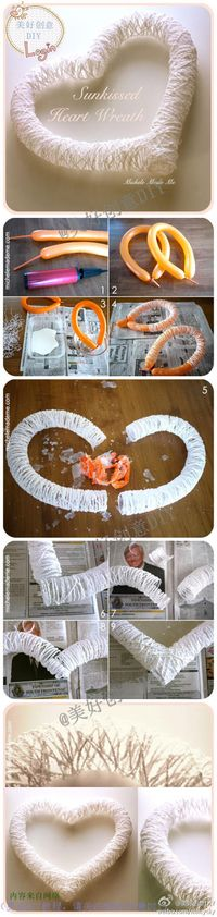 manualidades:get wet white wool and glue and put around wet balloon.