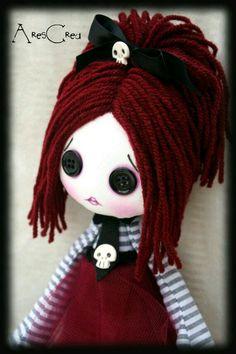 Creepy cute doll Opaline handmade zombie goth cloth doll with black button eyes and skulls. Goth cloth doll Creepy cute doll Opaline handmade zombie goth cloth by AresCrea Muñeca Diy, Zombie Girl, Gothic Dolls, Monster Dolls, Halloween Doll, Voodoo Dolls, Doll Eyes, Doll Tutorial, Sewing Dolls