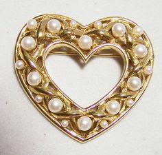 *Vintage Monet Faux Pearl Heart Pin Gold Tone by GretelsTreasures IsaRtfulfairytale