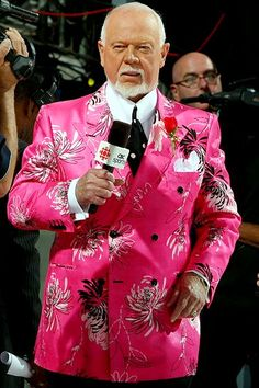 How to wear a pink suit (hint: being Don Cherry helps) hockey commentator, you got to love him.or hate him. Bruins Hockey, Hockey Players, Ice Hockey, Kings Hockey, Don Cherry, Gta, Canadian People, Hockey Memes, Nhl Games