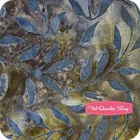 Edyta's Essential Batiks Misty Blue Small Leaf YardageSKU# 41014-37