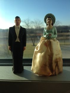 1940's Porcelain Anniversery Cake Married CoupleTopper by PaintedLadyAntiques on Etsy