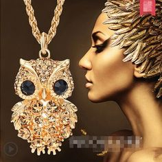 Best price on Gold Long Chain Necklace Vintage Owl //    Price: $ 9.90  &…