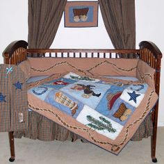 Cowboy 6 Piece Crib Set by Patch Magic:Set includes 6 pieces: quilt, fitted crib sheet, bumper pad, skirt, diaper stacker, and decorative pillow Fabric is cotton Heirloom-quality quilt Fitted crib sheet is high quality 250-300 thread count 4 piece bumper pad for ease of use Bumper pad contains cotton fill Pad covers are removable for easy washing Diaper stacker is generously sized #timelesstreasure