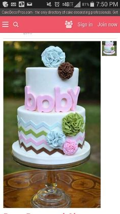 Need a cake for a Baby Shower? We have 50 Gorgeous Baby Shower Cakes to drool over. Boy, Girl or just don't know? Torta Baby Shower, Idee Baby Shower, Baby Shower Cupcakes, Shower Cakes, Pretty Cakes, Cute Cakes, Beautiful Cakes, Amazing Cakes, Bolo Fack
