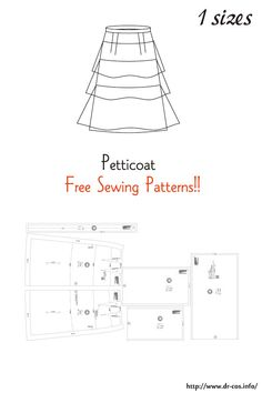 This is the pattern of a Petticoat. cm size) Ladies'-M Japanese Sewing Patterns, Sewing Patterns Free, Free Sewing, Sewing Tutorials, Clothing Patterns, Apron Patterns, Dress Patterns, Barbie Clothes, Sewing Clothes