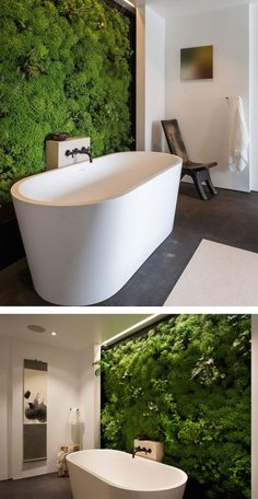 As urbanites get more and more isolated from the natural world, their desire to maintain some sort of connection has inspired creative new interior design ideas like moss walls to fill their needs. Moss walls are a beautiful and relatively low-maintenance Interior Design Trends, Green Interior Design, Bathroom Interior Design, Interior And Exterior, Interior Rendering, Diy Bathroom, Small Bathroom, Bathroom Ideas, Bathroom Vanities