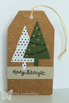Love To Stamp: Christmas Tags - tree punch and Festival of Trees stamp set, along with Good Greetings stamp set. Tree texture from on Point TIEF.