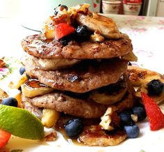 Recipe for banana, blueberry and pecan pancakes by London blogger Poppy Loves.  Brunch lovers will adore. Delicious, easy, as well as being vegan and gluten free!