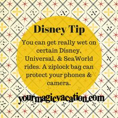You can get really wet on certain Disney, Universal, & SeaWorld rides. A ziplock bag can protect your phones & camera. #DisneyTip