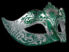 Stella Masquerade Mask - Silver Green this made me think if a Slytherin went to a ball....