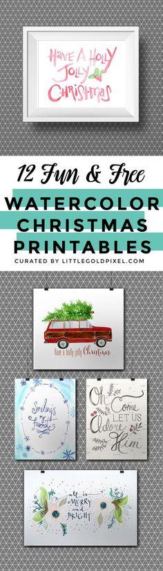 12 Free Christmas Watercolor Printables