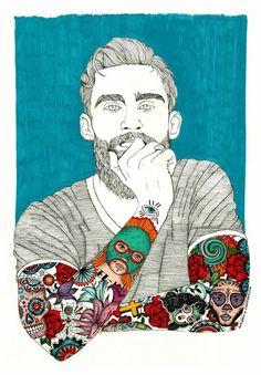 Labaribaruska Ilustracion / Illustration / Man / Beard / Tatuajes