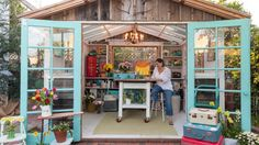 "This California space, which features loads of upcycled materials: 19 Gorgeous ""She Sheds"" That You'll Want To Retreat To ASAP Craft Shed, Diy Shed, Artist Shed, Studio Shed, Garage Art Studio, Build Your Own Shed, Backyard Studio, Garden Studio, Shed Kits"
