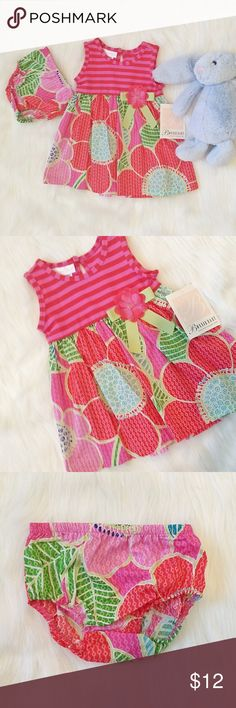Colorful Girl Dress (12M) If you're happy and you know it clap your hands 👏👏 What baby wouldn't be happy in this bright and colorful spring / summer time dress and matching bloomers?  New with tags 12 M Bonnie Baby Dresses Casual